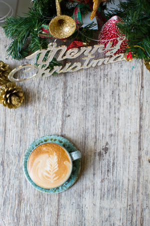 vapour: Hot Coffee cup on vintage table Christmas holidays background