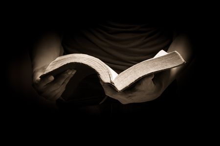 A man reading the Holy Bible. 写真素材