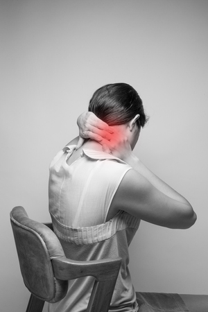 woman in pain: Young woman having pain in the neck,Pain in the neck