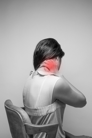 thai stretch: Young woman having pain in the neck,Pain in the neck
