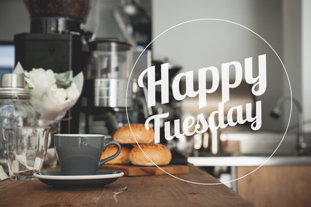 Happy Tuesday coffee cup background with vintage filter