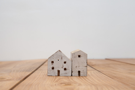 home purchase: Vintage tone of wooden toy house - home purchase mortgage concept