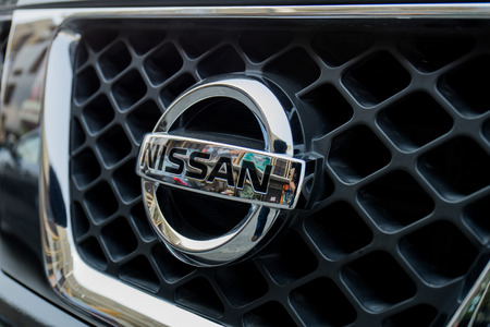 nissan: Close-up of Nissan brand Editorial