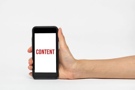 trackpad: Woman holding smart phone with wording of content