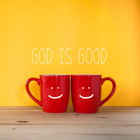 lamb of god: a cup of coffee with the word  God is good  Stock Photo