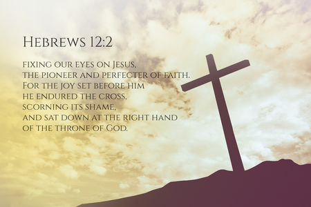 hebrews: Hebrews 12:2 Vintage Bible Verse Background on one cross on a hill Stock Photo