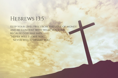 hebrews: Hebrews Vintage Bible Verse Background on one cross on a hill