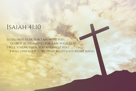 isaiah: Isaiah  Vintage Bible Verse Background on one cross on a hill