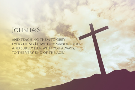 verse: John 14:6 Vintage Bible Verse Background on one cross on a hill