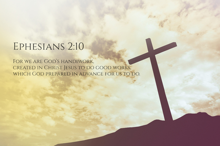 verse: Ephesians Vintage Bible Verse Background on one cross on a hill