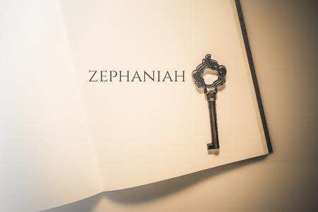 spiritualism: Vintage tone the bible book of Zephaniah Stock Photo