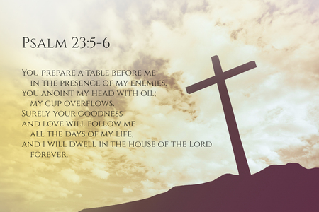 psalm: Psalm 23:5-6 Vintage Bible Verse Background on one cross on a hill Stock Photo