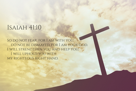 isaiah: Isaiah 41:10 Vintage Bible Verse Background on one cross on a hill
