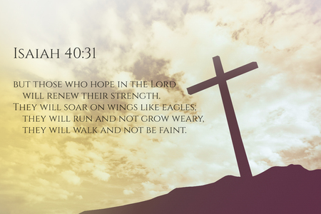 Isaiah 40:31 Vintage Bible Verse Background on one cross on a hill