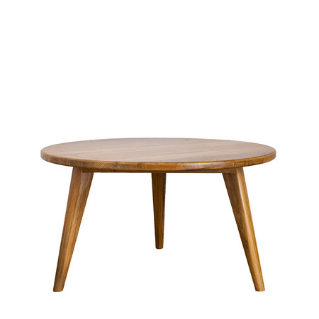 round table: round table with wooden legs on a white background