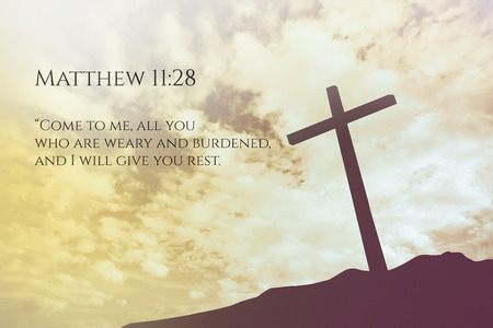 verse: Matthew 11:28 Vintage Bible Verse Background on one cross on a hill