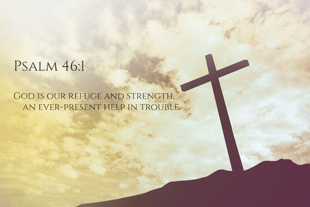 psalm: Psalm 46:1 Vintage Bible Verse Background on one cross on a hill