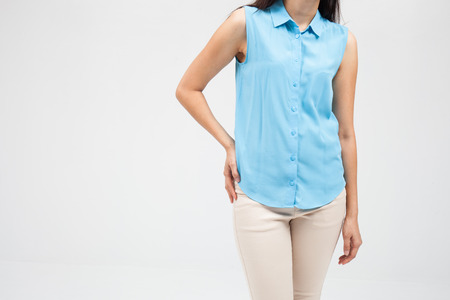 slipped: Low back pain, woman, plainclothes