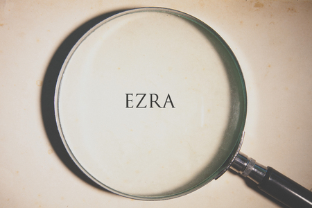 Vintage tone of the Bible book of Ezra. Stock Photo
