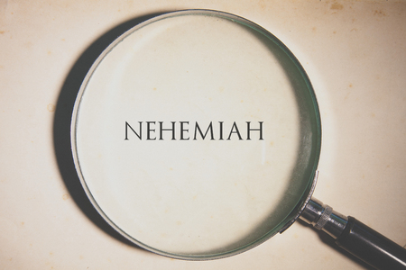 Vintage tone of the Bible book of Nehemiah. Stock Photo