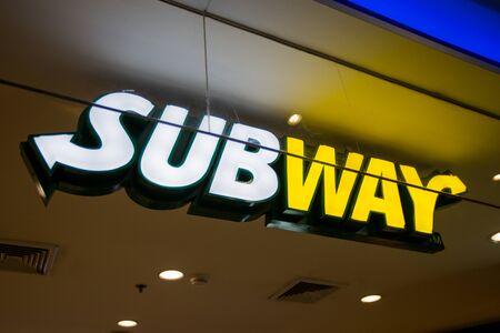 Chiangmai, Thailand - 28 mei 2017: Metro fastfoodrestaurant. Het bedrijf is een private Amerikaanse fastfoodrestaurantfranchise die voornamelijk onderzeeërbroodjes (subs) en salades verkoopt Redactioneel