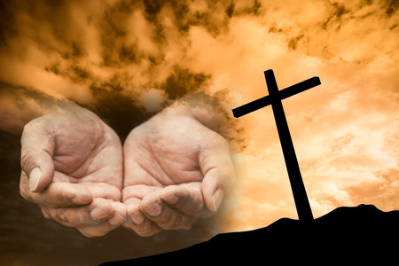 hand with cross background