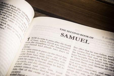 """Old testament in King James version, """"2 Samuel"""" chapter in a Holy Bible. Reklamní fotografie"""