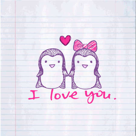 Penguins in love Illustration