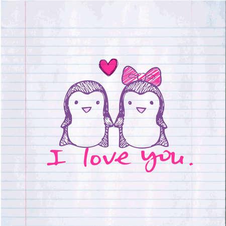 Pinguïns in de liefde Stock Illustratie
