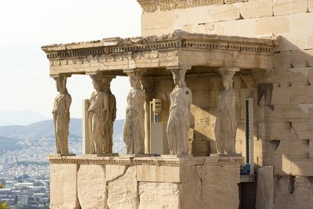 karyatides statues inside acropolis