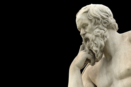 klassiek standbeeld van Socrates close-up
