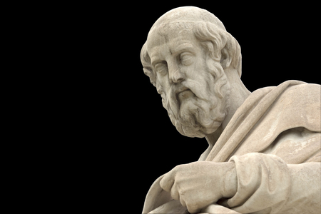 classic statue of Plato from side close up Stok Fotoğraf