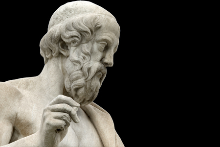 classic statue of Plato from side close up Foto de archivo