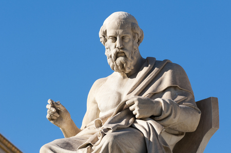 estatuas clásicas Platón sentado Foto de archivo