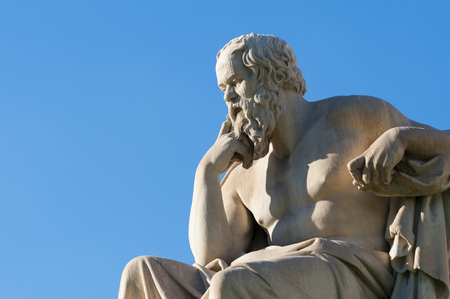 classical statue of Socrates from side Stock Photo