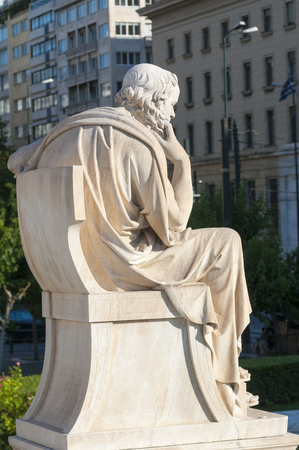 classical statue of Socrates from back side Stockfoto