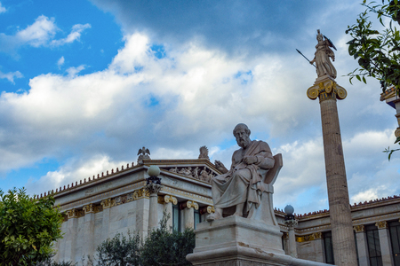 plato and athena statues at academy of athens Stok Fotoğraf