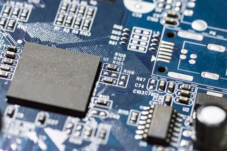 microchips and circuits on a board Standard-Bild