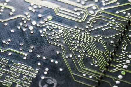 microchips and circuits on a board Stock Photo