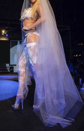 sexy bride walking on a show