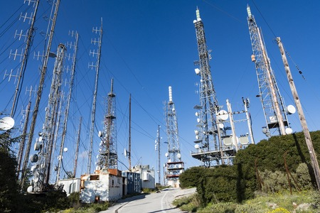 Communication towers, antennas and dishes over the mountain