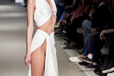 female model posing during catwalk