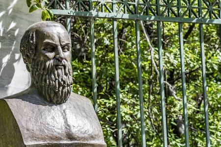 Bust of tragic poet Aeschylus in Athens, Greece Redactioneel
