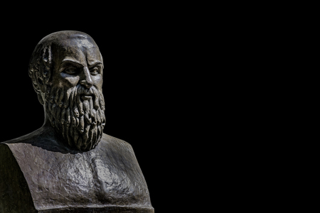 Bust of tragic poet Aeschylus in Athens, Greece with black background