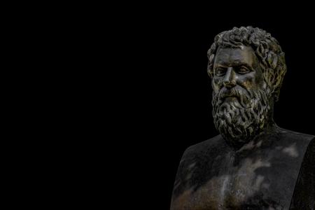 Bust of tragic poet Sophocles in Athens, Greece with black background Zdjęcie Seryjne