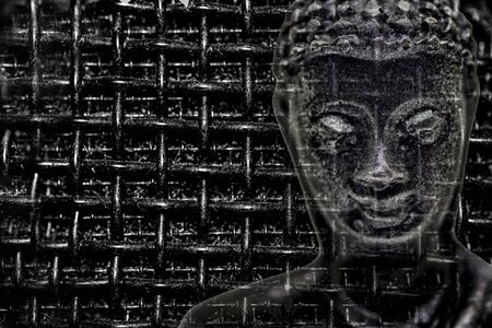 Face of buddha figurine from black stone emerges from cell background