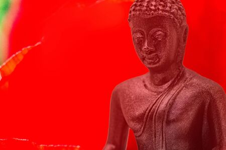 Bust of buddha figurine from black stone with red background