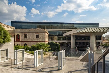 View of people visiting acropolis museum in Athens-Greece