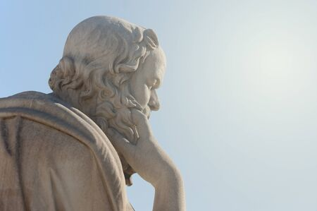 classical statue of Greek philosopher Socrates from side close up