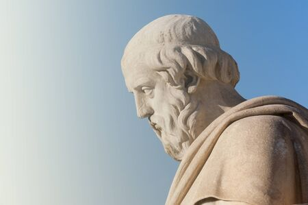 classic statue of Greek philosopher Plato  from side close up